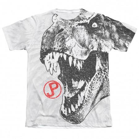Jurassic Park Men's White T-Rex Sublimation T-Shirt