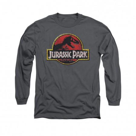 Jurassic Park Stone Logo Gray Long Sleeve T-Shirt