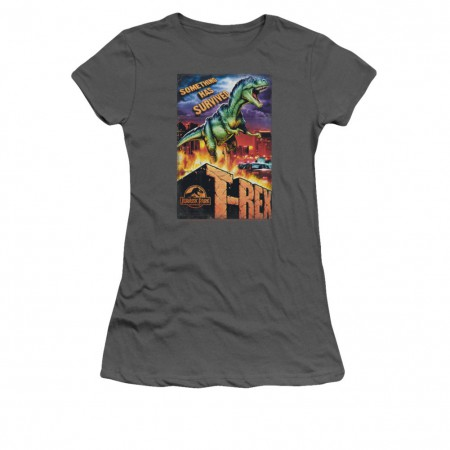 Jurassic Park Rex In The City Gray Juniors T-Shirt