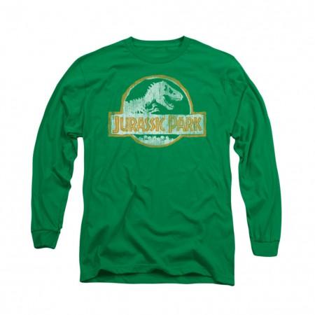 Jurassic Park Distressed Logo Green Long Sleeve T-Shirt