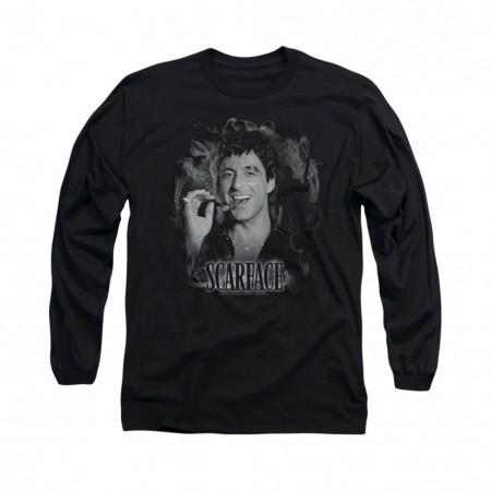 Scarface Smokey Scar Black Long Sleeve T-Shirt