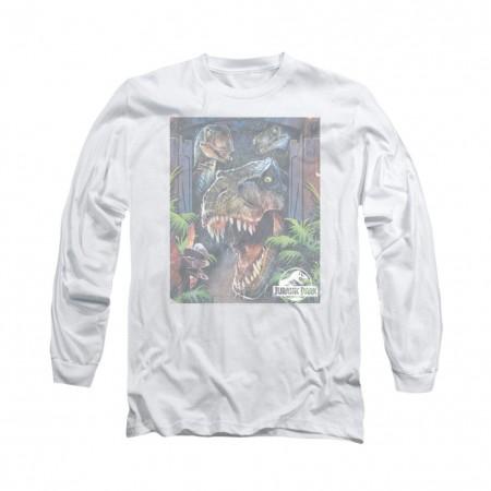 Jurassic Park Giant Door Art White Long Sleeve T-Shirt