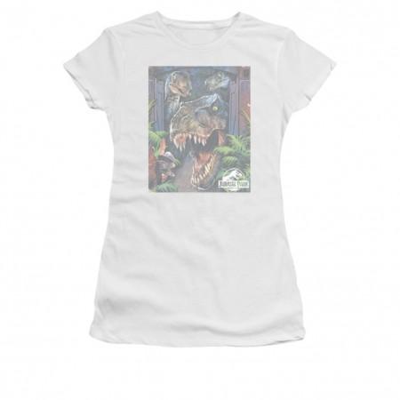 Jurassic Park Giant Door White Juniors T-Shirt