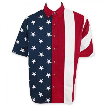 American Flag USA Button Up Shirt