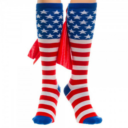American Flag Women's Red White And Blue Cape Socks