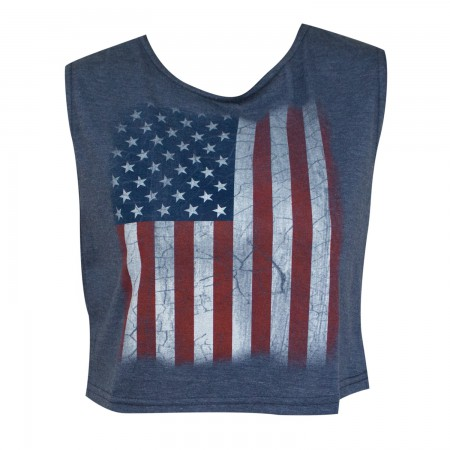 American Flag Patriotic Women's Navy Blue Crop Top