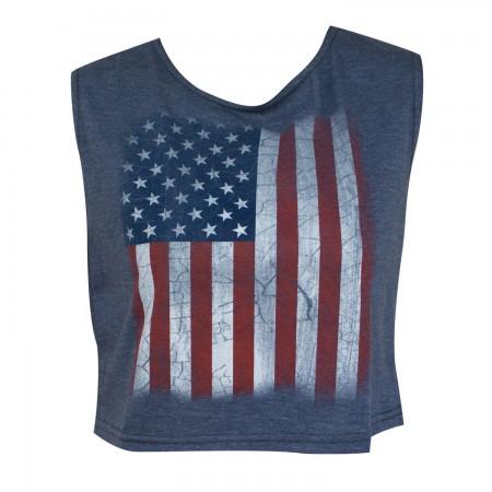 American Flag Women's Navy Blue Crop Top