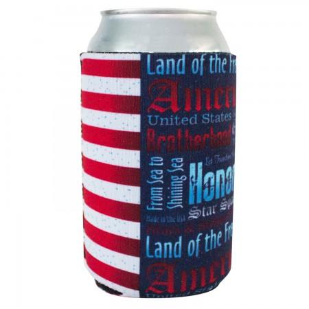 Patriotic USA Quotes Can Cooler Insulator