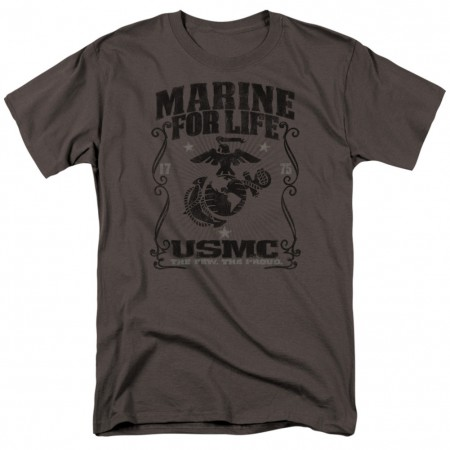 US Marines USMC For Life Grey Tshirt