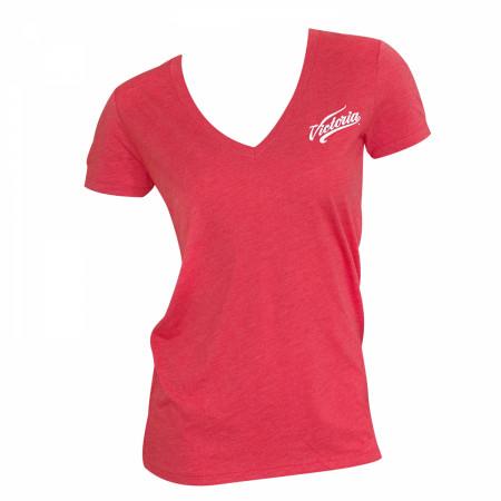 Victoria Cerveza Women's Red V Neck Tee Shirt