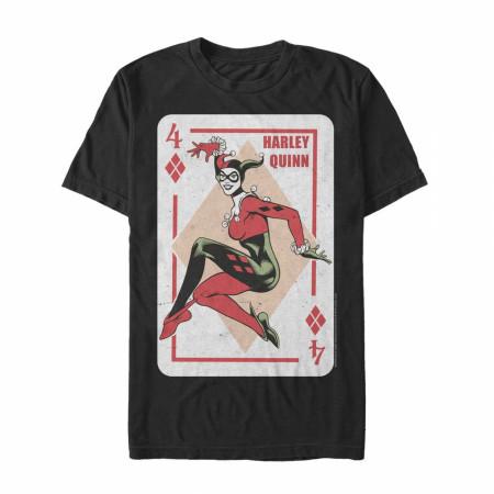 Harley Quinn 4 of Diamonds Black T-Shirt