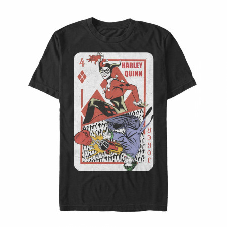 Harley Quinn and Joker Playing Card Black T-Shirt
