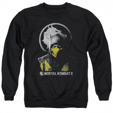 Mortal Kombat X Scorpion Bust Black Crew Neck Sweatshirt