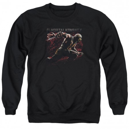 Mortal Kombat X Scorpion Lunge Black Crew Neck Sweatshirt