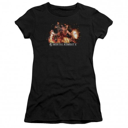 Mortal Kombat X Scorpio Flames Black Juniors T-Shirt
