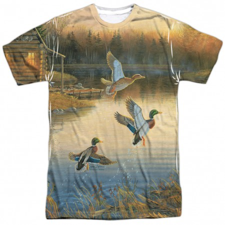 Ducks Over Water Hunting and Fishing Two Sided Shirt