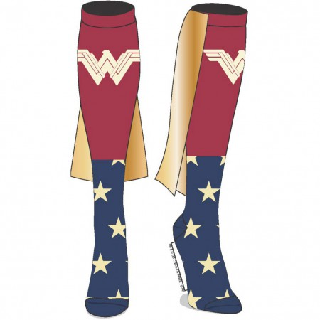 Wonder Woman Blue And Red Knee High Women's Caped Socks