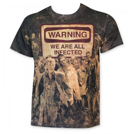 Walking Dead Men's Warning We Are All Infected Sublimated T-Shirt