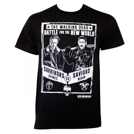 Walking Dead Men's Black Grimes Vs Negan Poster T-Shirt