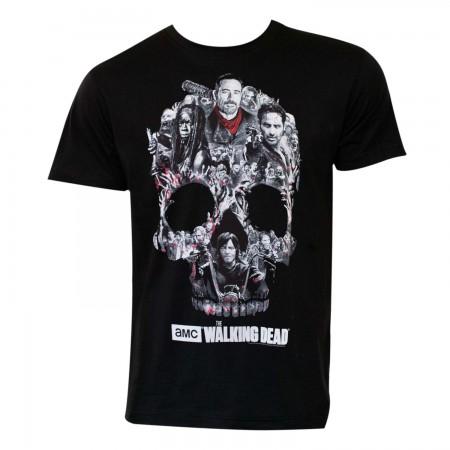 Walking Dead Men's Black Skull Logo T-Shirt