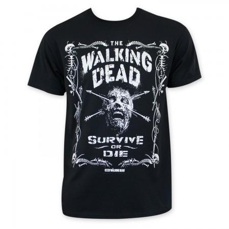Walking Dead Men's Black Survive Or Die T-Shirt