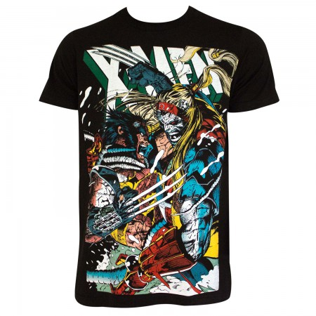 X-Men Men's Black Wolverine Vs Omega T-Shirt