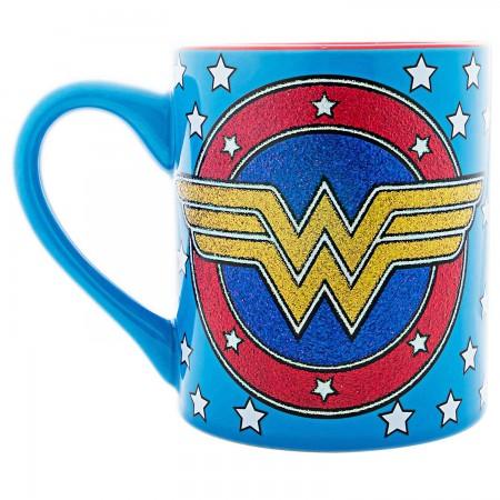 Wonder Woman Ceramic Blue Glitter Logo Mug