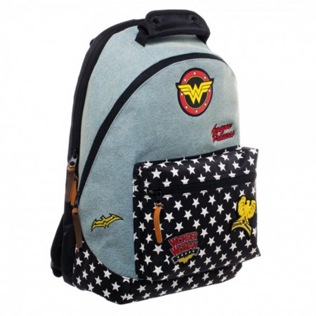 Wonder Woman Patches Denim Zip Backpack