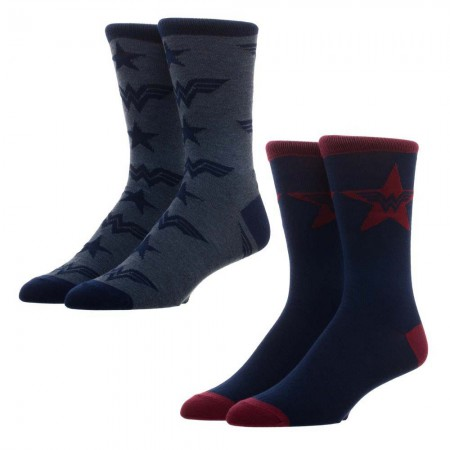 Wonder Woman Logos Men's Crew Socks 2 Pack