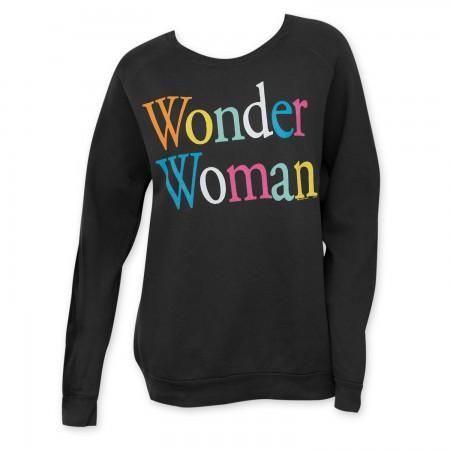 Junk Food Women's Black Wonder Woman Rainbow Letter Crew Neck
