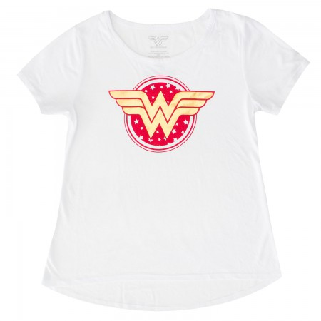 Wonder Woman Youth Girls White Circle Logo T-Shirt
