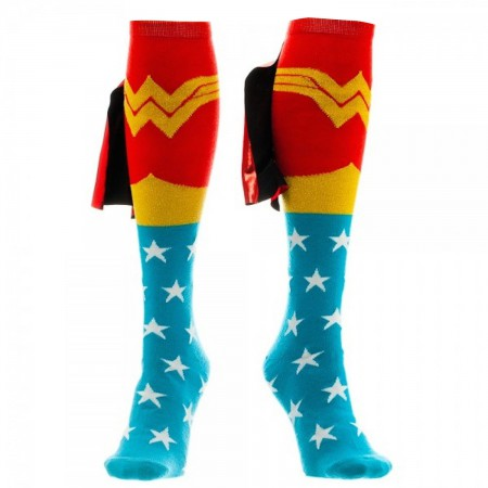 Wonder Woman Blue And Red Women's Knee High Shiney Cape Socks