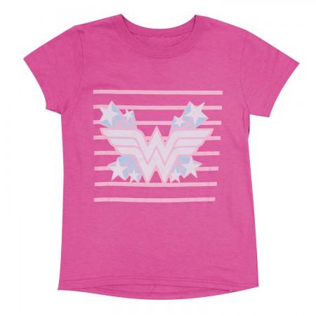 Wonder Woman Pink Striped Youth Girls T-Shirt