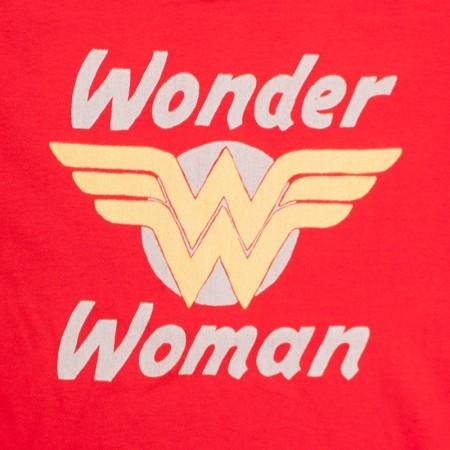 Wonder Woman Red Junior's Golden Logo Tee Shirt