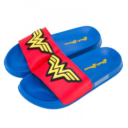 Wonder Woman Blue Youth Soccer Slide Sandals