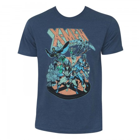 X-Men Men's Heather Blue Retro Comic T-Shirt