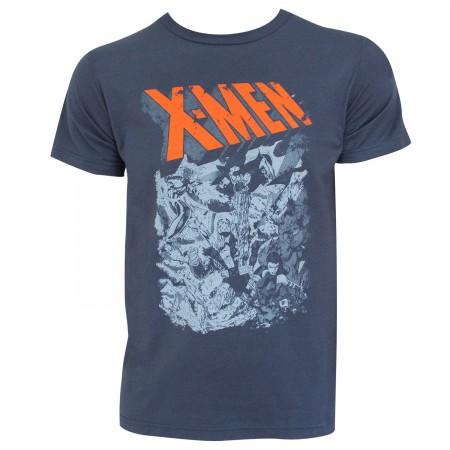 X-Men Men's Grey Group Fight T-Shirt