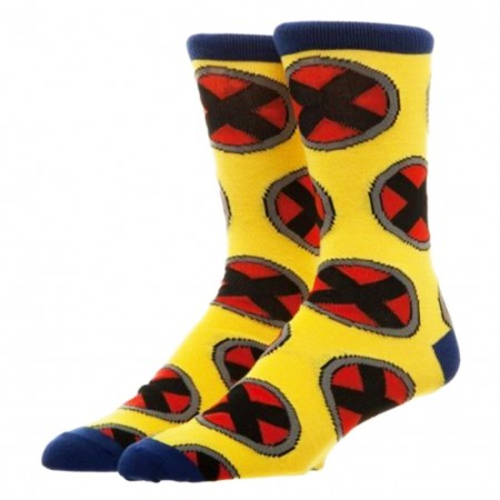 X-Men Yellow Men's Repeat Logo Crew Socks