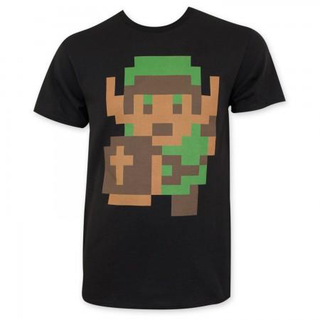 Nintendo Zelda Men's Black Pixelated Link Tee Shirt