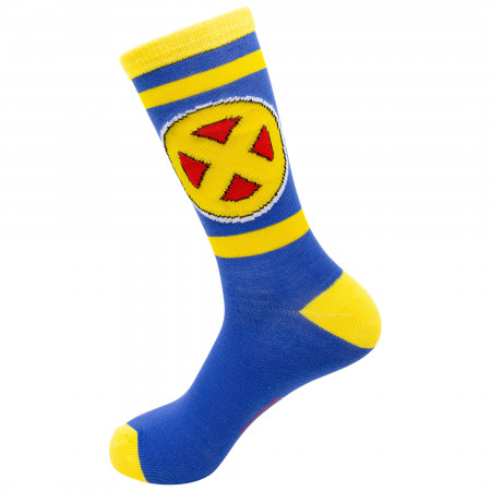 X-Men Yellow and Blue Symbol Crew Socks