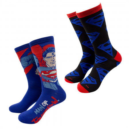 Superman Man of Tomorrow Crew Socks 2-Pack
