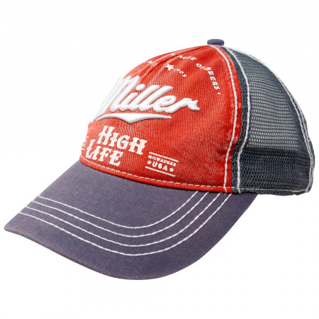 Miller High Life Beer Black And Red Adjustable Trucker Hat