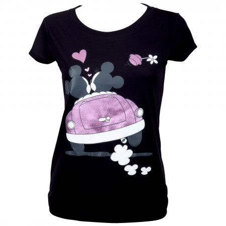 Mickey And Minnie Moto Mouse Women's Black T-Shirt