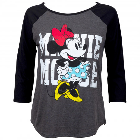 Minnie Mouse Women's Grey Baseball T-Shirt