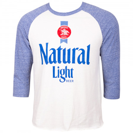 Natural Light Beer Blue And White Raglan Shirt