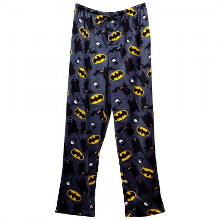 Batman Toss Logos and Characters Fleece Sleep Pants