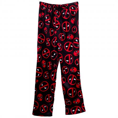 Deadpool Symbols and Head Fleece Sleep Pants
