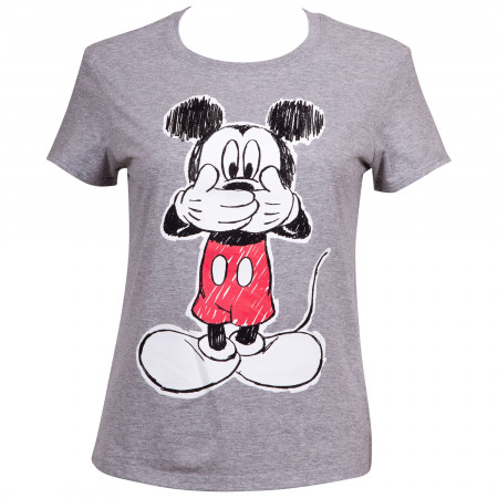 Mickey Mouse Oops Juniors Fitted T-Shirt