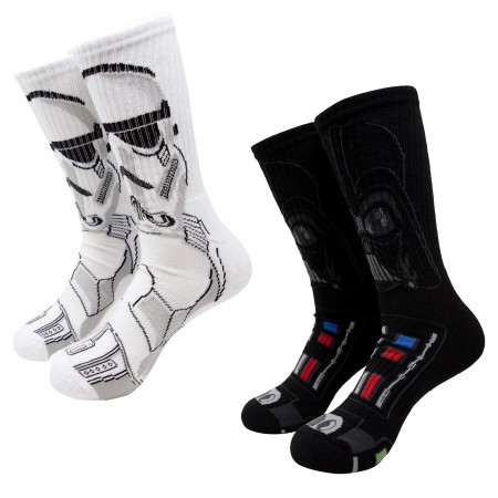 Star Wars Darth Vader and Stormtrooper Character Crew Socks 2-Pair Pack