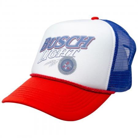 Busch Light Beer Logo Red  White  and Blue Adjustable Snapback Mesh Trucker Hat
